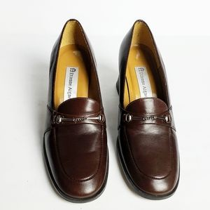 ♥️Etienne Aigner Brown Leather Slip On Loafers